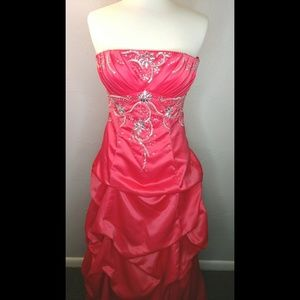 City Triangles coral pink strapless prom dress